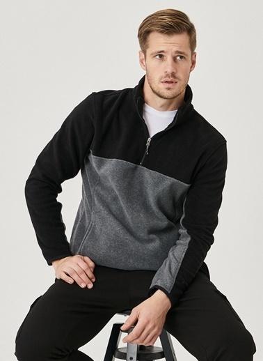 AC&Co / Altınyıldız Classics Slim Fit Günlük Rahat Çift Renkli Polar Spor Sweatshirt 4A5221100015 Siyah